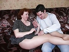 Russian mature mom more pantyhose and her boy! Amateur!