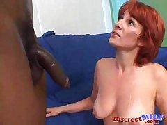 Redhead mummy gets chunky black cock