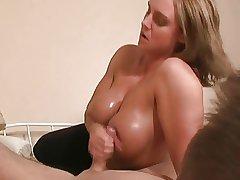 TitFuck  Handjob Blonde Mature