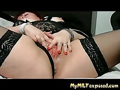 MY MILF Exposed - BBW mature in stocking with vibrator