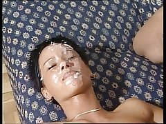 Mature milf gangbang increased by facials