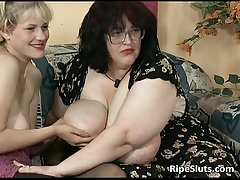 Filthy BBW and domineer blonde teasing each