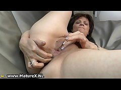 Experienced mature nipper loves on touching finger