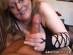 Busty amateur wife handjob together with blowjob with cum in indiscretion