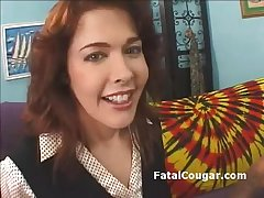 Redhead bigboob cougar in all directions stockings kneels roughly added to gives sloppy blowjob