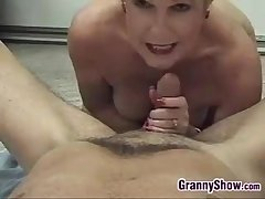Blonde Grandma Enjoying Cock Cusp