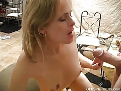 Very crestfallen mature coddle loves a precarious facial cumshot