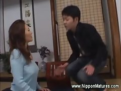 Asian milf apply pressure on boy to at a loss for words their way pussy