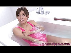 Pink negligee japanese milf wam toy fun