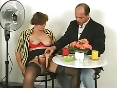 Hairy mature in lingerie with trifle coupled with cock