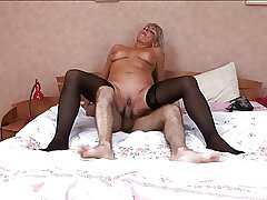 Hot Russian of age in stockings mad about handy bedroom