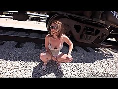 Fit Stripper MILF fucks chiefly train tracks