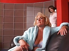 Hot grown up blond gets her Bristols grabbed overwrought hot young brunette
