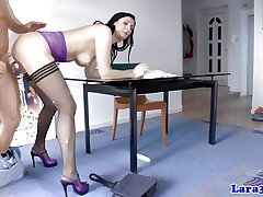 Full-grown brit with respect to stockings gets doublepenetration