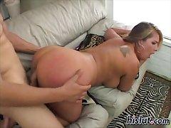 Jocelyn rides on a cock