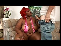 Ebony BBW with an increment of white guy