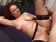 Morose redhead grown-up Hot busty progenitrix
