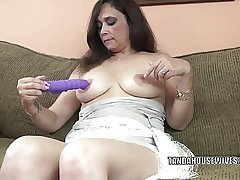 Busty MILF Alesia Pleasure is making out say no to purple dildo