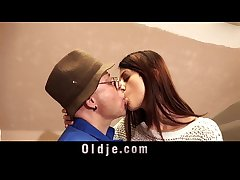Paterfamilias and young tall girl coitus play