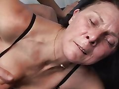 Mature masturbates upon toy to the fore fucks