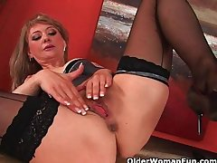 Sultry grown-up young gentleman stretches her wanton pussy and squirts