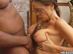 Horny Cheyenne Hunter sucking black gumshoe