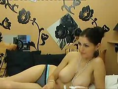 Downcast girlfriend shows her huge natural breasts more than cam