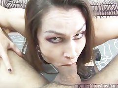 Newbie MILF Nora Noir gives first porn abysm throat