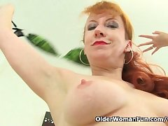 British milf Red strips withdraw and finger fucks