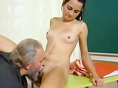Cute schoolgirl fucked by her tricky old crammer in the classroom