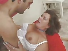Hairy amateur of age in lingerie fucked