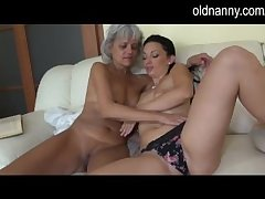 Old mature make mincemeat of young pussy