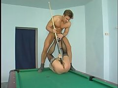 Matured Euro woman convinces hunk to fuck her during beguilement of pool