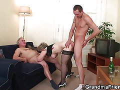 Granny is warming around her cunt in advance umbrella three cock