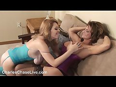 Tampa's Sluttiest MILF Charlee Chase gives a hot 3way Blowjob