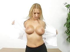 Chap-fallen adult fair-haired shows how she masturbate