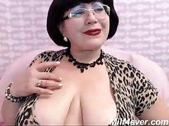 of age milf teasing on web cam fat breast