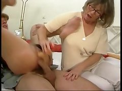 German mammy and little one nigh some groupsex action