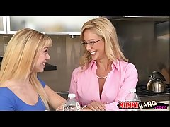 Mature Cherie Deville gender with young couple on slay rub elbows with couch