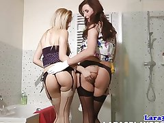 Full-grown pussylicking lesbian in stockings orgasms