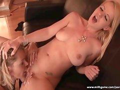 Horny sluts having fun with fat dildo