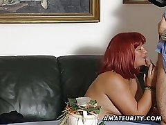 Redhead amateur Milf sucks cock with cum on tits