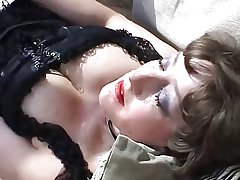 Mature in lingerie outdoor anal with cock and toys