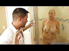 Busty Blonde Milf Gets Fucked Concerning The Lavatory (Who is she???)