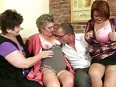 Adult mothers sharing several lucky boy's cock