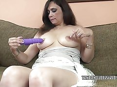 Busty MILF Alesia Pleasure is fucking say no to purple dildo