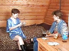 Russian Mature Plays Strip Poker in Young Boy-daddi