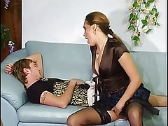 Russian mature aunt surrounding young boy.