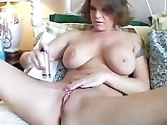 Chunky knockers MILF shaves her sexy pussy