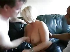 Blonde unpaid mature takes two cocks